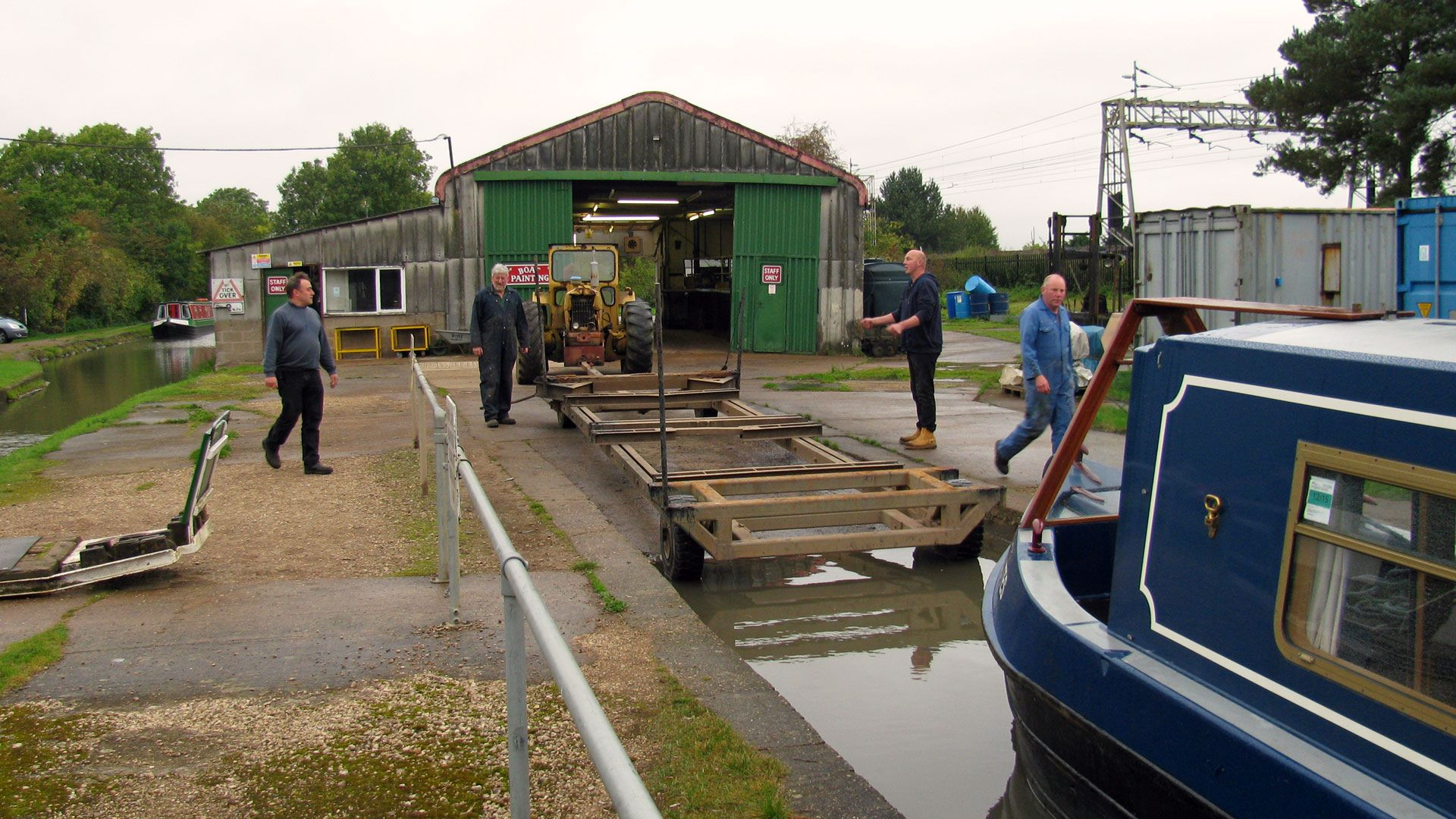 Waiting for the lift up the ramp into the paint shed at Rose Narrowboats