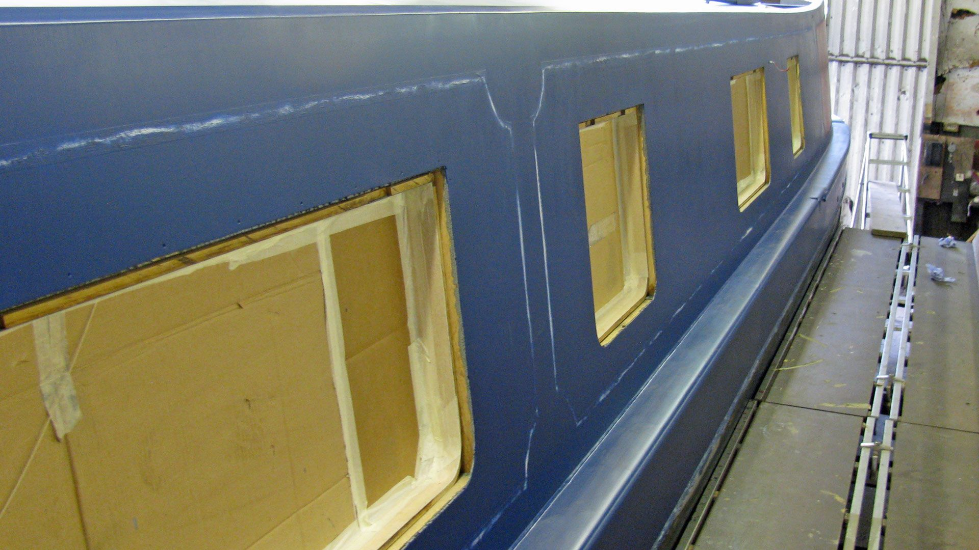 Blue undercoat with lining marked out