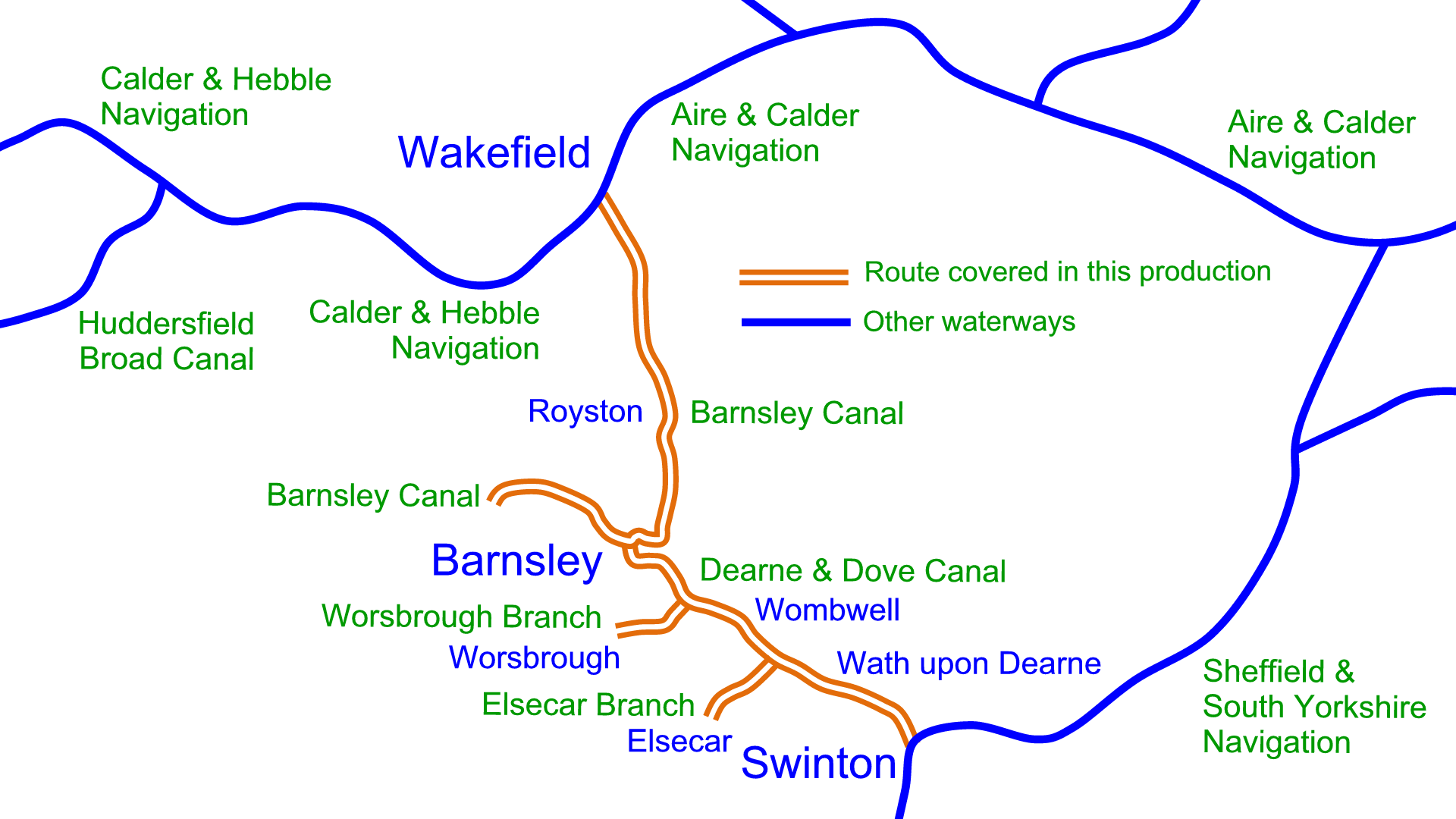 Overview map of the Barnsley and Dearne & Dove Canals