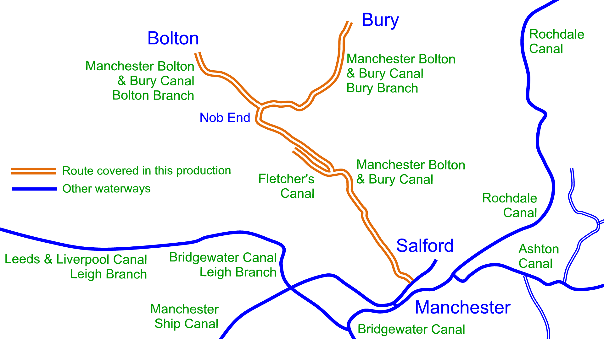 Manchester Bolton Bury Canal Maps Waterway Routes