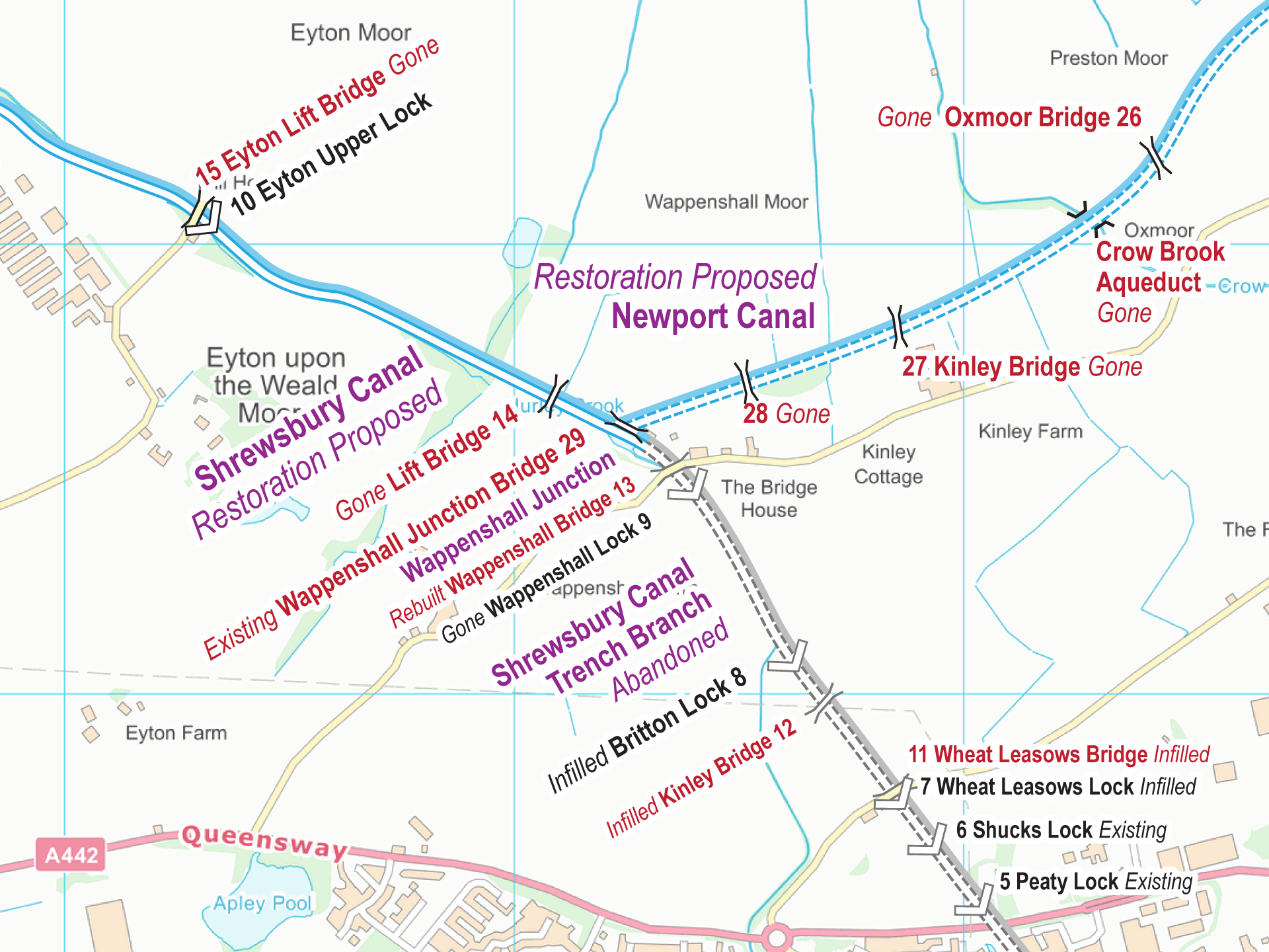 Shrewsbury and Newport Canals Maps – FREE – Waterway Routes